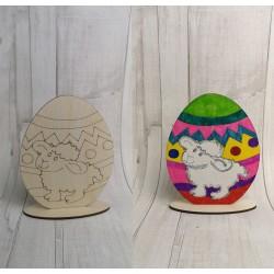 Malowanka wielkanocna drewniane jajko baranek