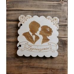 Drewniane zaproszenie na ślub
